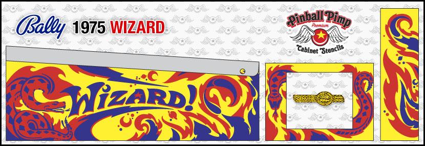 virallinen myymälä esikatselu rajoitettu guantity bally wizard pinball cabinet stencilsPinball Pimp Stencils.com
